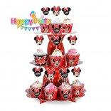 tháp đựng bánh cupcake mickey đỏ happyparty.vn