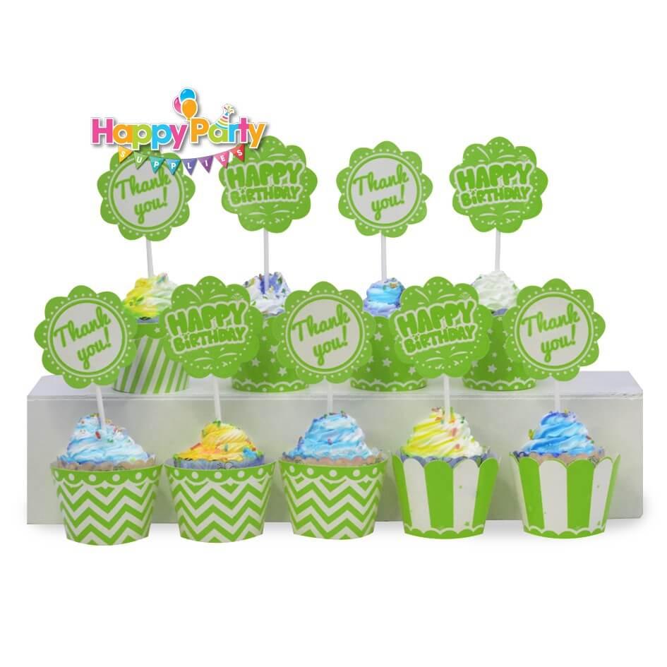 tem-cam-banh-cupcake-mau-xanh-la happyparty.vn