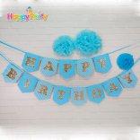 Happyparty.vn Set xanh dương Gold Kim Tuyến  dây treo happy birthday
