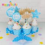 Happyparty.vn Set xanh dương Gold Kim Tuyến  tem cắm bánh cupcake