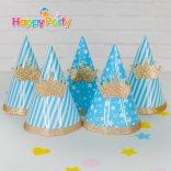 Happyparty.vn Hộp Nón giấy sinh nhật Set xanh dương Gold Kim Tuyến
