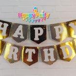 Set Gold ép kim dây treo happy birthday happyparty.vn