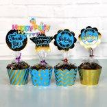 Xanh Dương Gold Ép Kim tem cắm bánh cupcake sinh nhật happyparty.vn