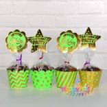 Set Xanh là gold Ép Kim tem cắm bánh cupcake sinh nhật happyparty.vn
