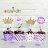 tím gold kim tuyến tem cắm bánh cupcake sinh nhật happyparty.vn