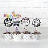 Set silver ép kim tem cắm bánh cupcake happyparty.vn