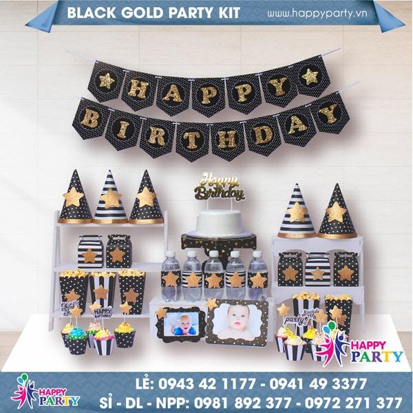 Phụ kiện trang trí sinh nhật BLACK GOLD PARTY KIT