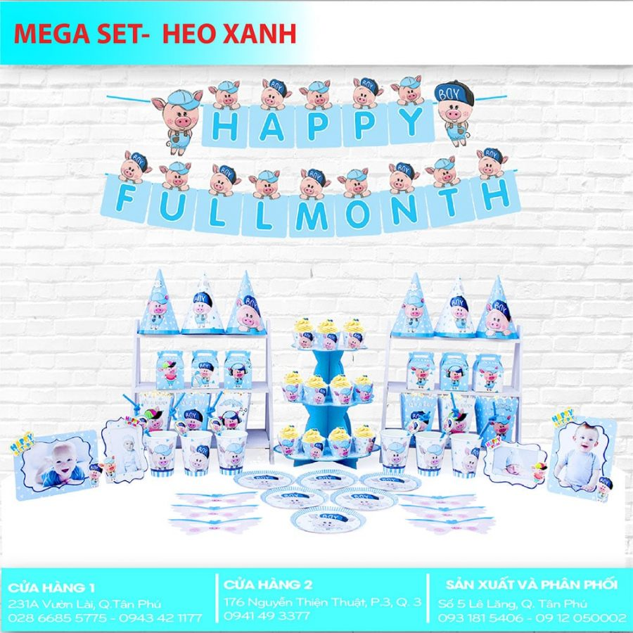 Phụ kiện trang trí sinh nhật chủ đề HEO XANH