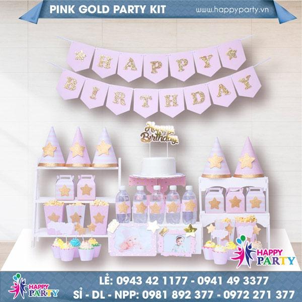 Phụ kiện trang trí sinh nhật PINK GOLD PARTY KIT