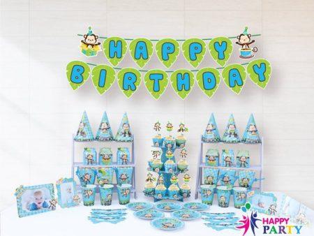 Phụ kiện trang trí sinh nhật chủ đề KHỈ XANH