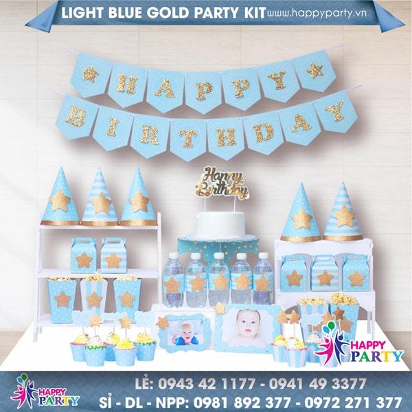 PHỤ KIỆN TRANG TRÍ SINH NHẬT LIGHT BLUE GOLD PARTY KIT