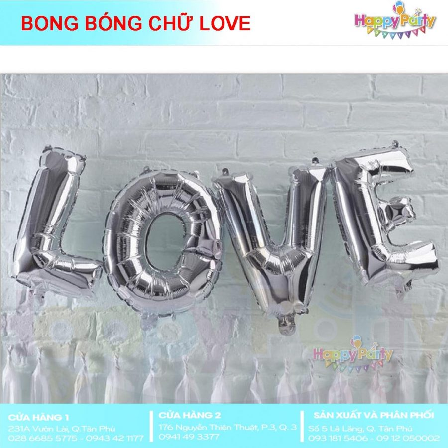 BONG BÓNG CHỮ LOVE SILVER