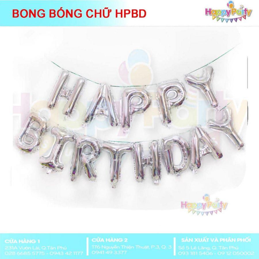 BONG BÓNG CHỮ HAPPY BIRTHDAY SILVER