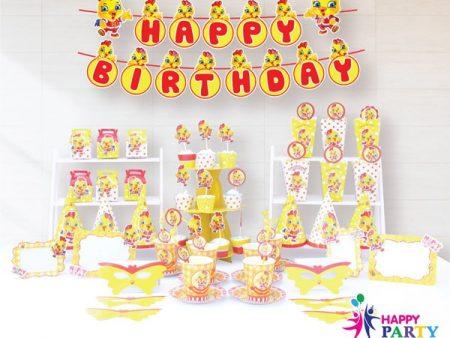 Phụ kiện trang trí sinh nhật chủ đề GÀ VÀNG