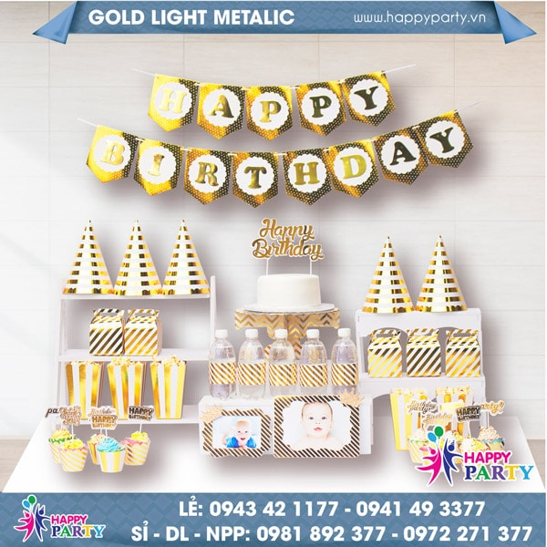 Phụ kiện trang trí sinh nhật GOLD LIGHT METALIC