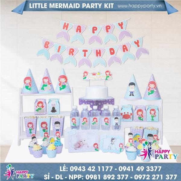 Phụ kiện trang trí sinh nhật LITTLE MERMAID PARTY KIT