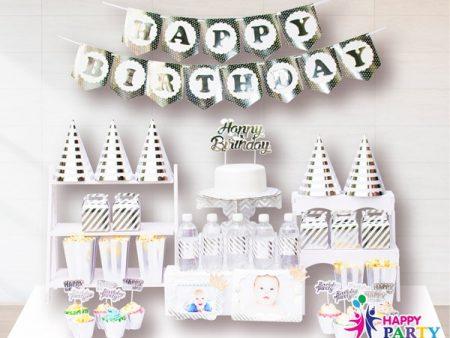 Phụ kiện trang trí sinh nhật SILVER LIGHT METALIC