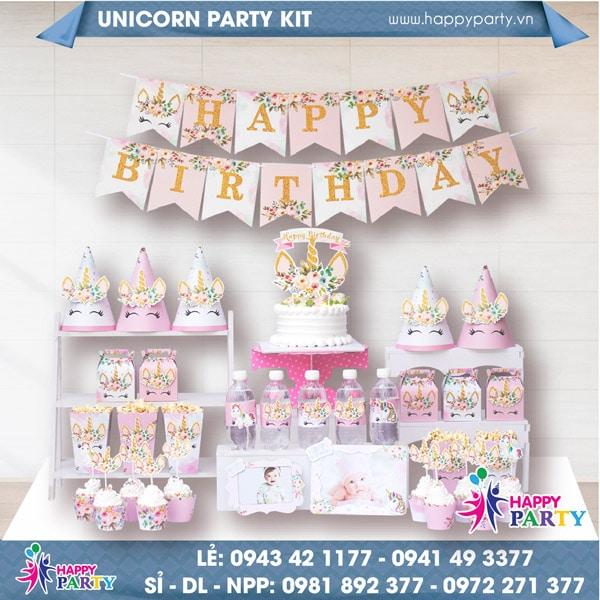 Phụ kiện trang trí sinh nhật UNICORN PARTY KIT