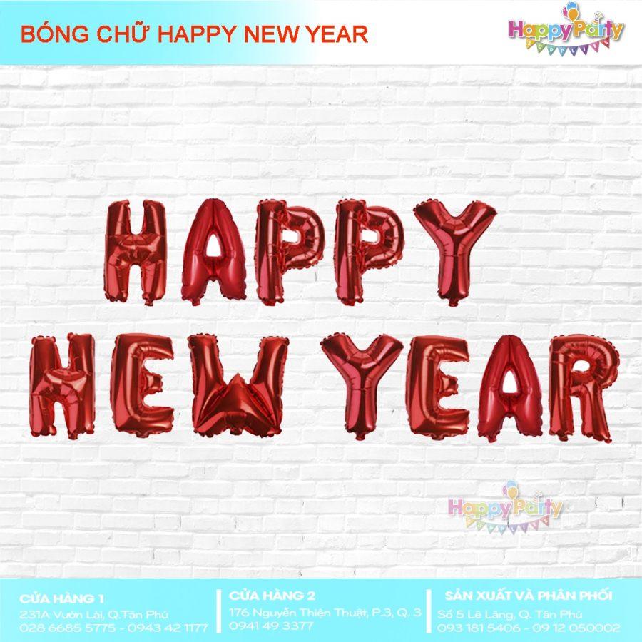 BÓNG CHỮ HAPPY NEW YEAR (màu đỏ đô)