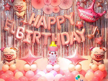 Mẫu trang trí bóng sinh nhật cho bé heo hồng