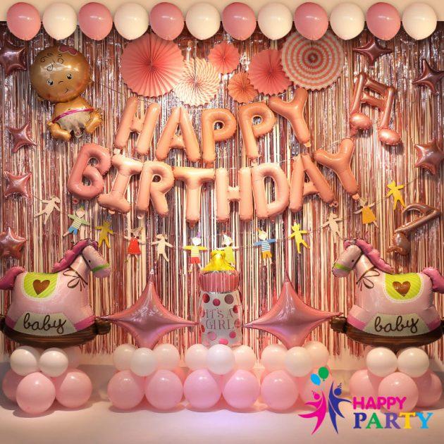 Mẫu trang trí bóng sinh nhật cho bé baby girl