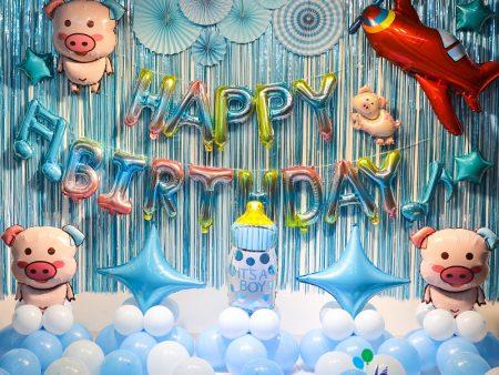 Mẫu trang trí bóng sinh nhật cho bé heo xanh