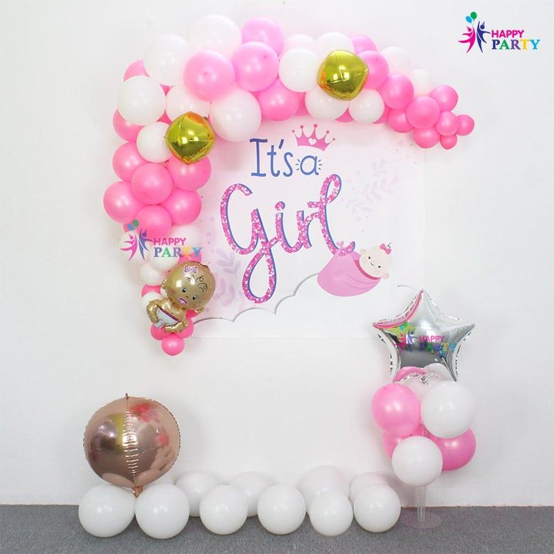 Combo Trang Trí Backdrop Baby Girl - Hồng Tươi Hạnh Phúc