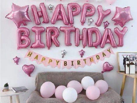 Set bóng sinh nhật màu hồng