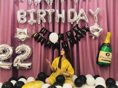 Set bóng sinh nhật đen xám