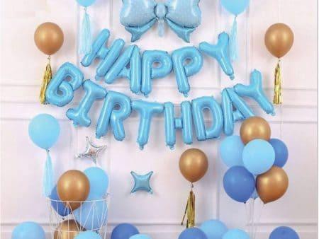 set bóng sinh nhật xanh dương