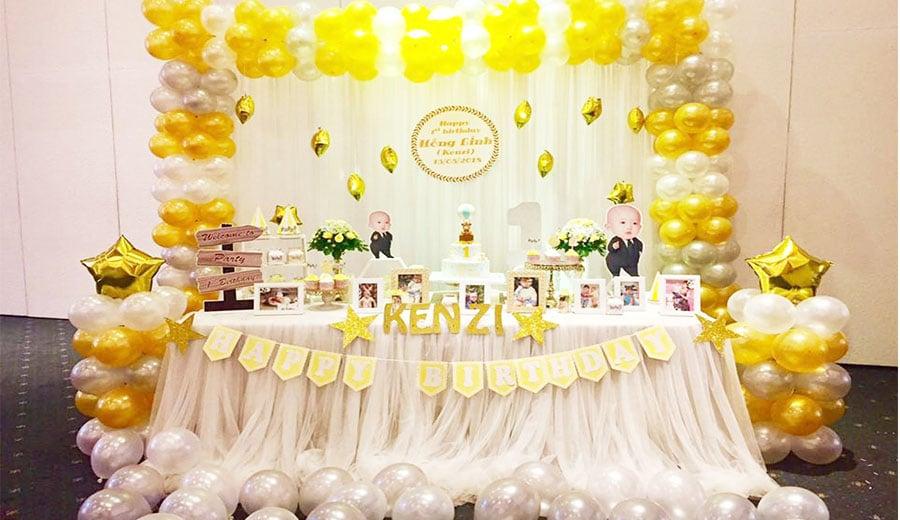 Ý tưởng trang trí sinh nhật bằng bóng bay với bàn gallery