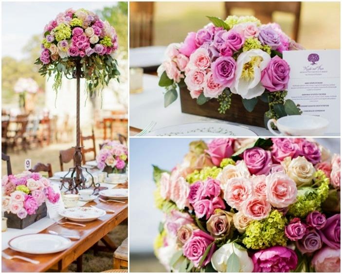 Mẫu trang trí tiệc cưới bằng hoa tươi