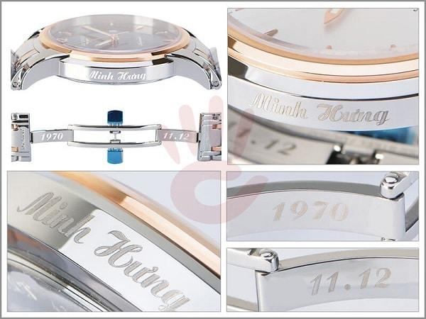 Quà tặng đồng hồ khắc hình laser