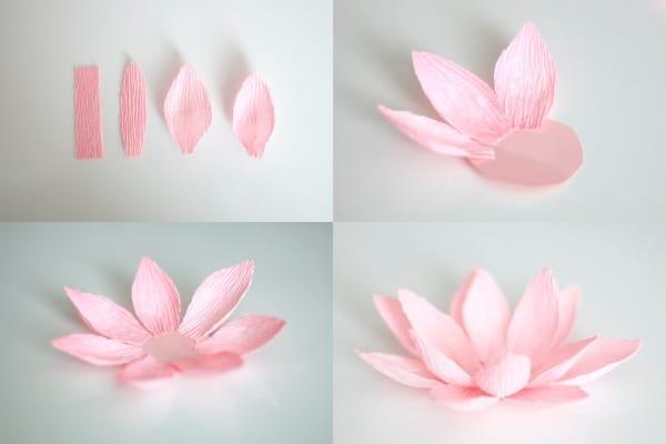 Làm hoa sen bằng giấy nhún