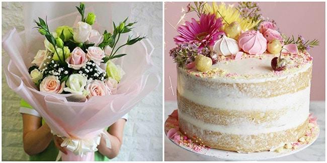 Hoa và bánh sinh nhật tặng bạn gái/vợ
