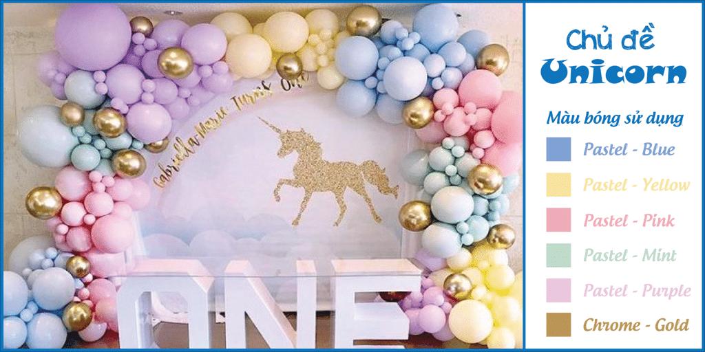 Phối màu bong bóng trang trí tiệc sinh nhật chủ đề Unicorn hoặc Pony