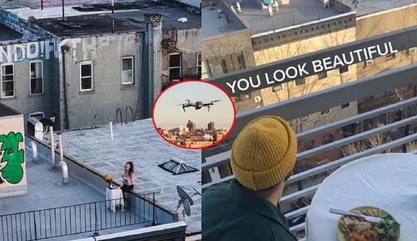 Dùng flycam làm bạn gái bất ngờ